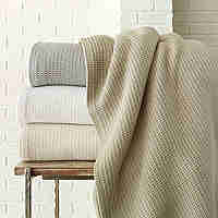 Peacock Alley Riviera Blanket - Woven waffle design.