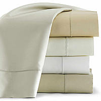 Peacock Alley Soprano solid sateen sheets with blanket-stitched hem.  420 thread count, 100% Egyptian cotton. Imported, machine washable.