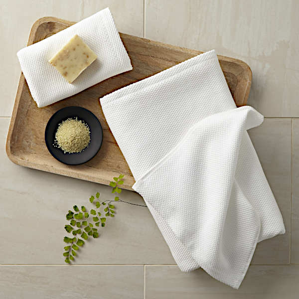 Peacock Alley Spa Bath Towel and Bathrobe - Tray with Towels.