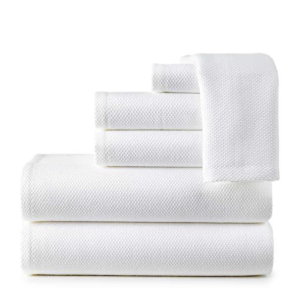 Peacock Alley Spa Bath Towel and Bathrobe - Towel stack.