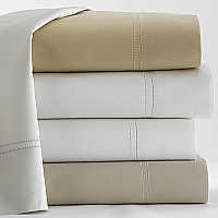 Peacock Alley Virtuoso solid sateen sheets with hemstitching.  600 thread count, 100% Egyptian cotton. Imported, machine washable.