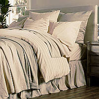 This lightweight, organic cotton and linen blend,  is accented with a sophisticated stripe to create a stunning, all-natural look and feel.
