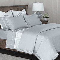 RB Casa Kiara solid sateen bedding with lace insert.