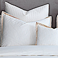Neutral colored jacquard pin stripe Sateen 300 TC bedding will add a clean and refined look to any bedroom.