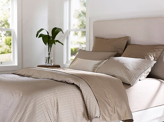 SDH Kenji Bedding is made with 100% Egyptian Cotton - shown in Charcoal/Oyster.