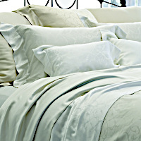 The elegantly scrolled pattern of SDH's Legna Seville is woven into yet another decadently soft bedding collection.