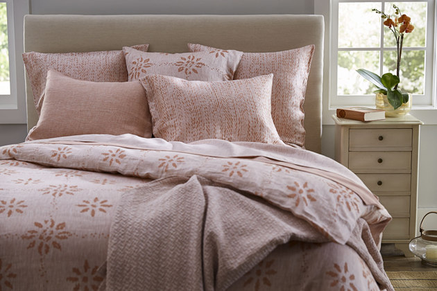 SDH Octavia Bedding is made with 100% Linen - shown in Carmine.