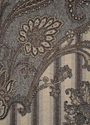 Svad Dondi Goa Throw fabric closeup in Grey color.