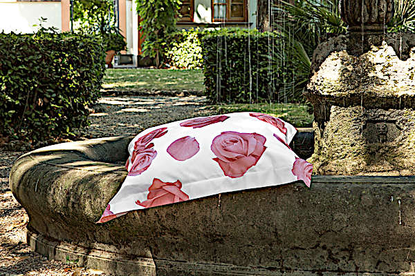 Signoria Firenze Bedding - Rosa Collection fabric close up in White/Pink color.