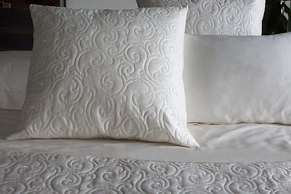 This unique embroidered quilted coverlet and sham from Signoria Firenze is offered on a cotton sateen fabric 300 TC.