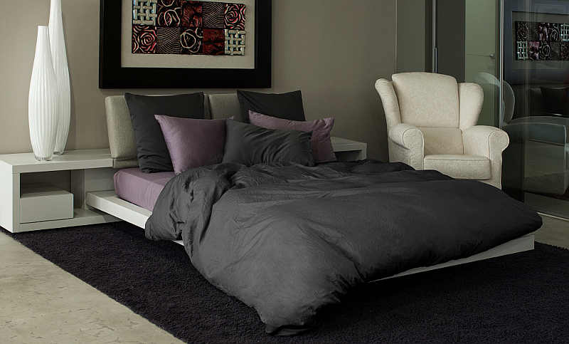 Signoria Firenze Viola Duvet & Sheet Set - Charcoal and Amethyst