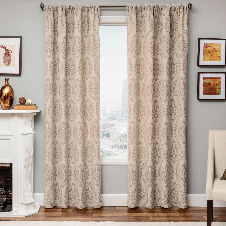 Damask curtains living room - Linen