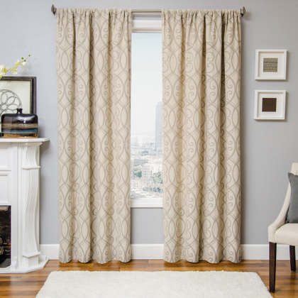 Softline Home Fashions Athens Scroll Drapery Panels are available in 6 color combinations.