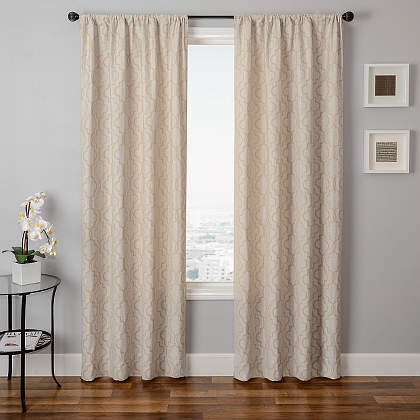Softline Home Fashions Athens Tile Drapery Panels are available in 6 color combinations.