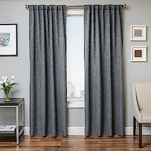 Softline Home Fashions Breda Drapery Panels in Blue Steel color.