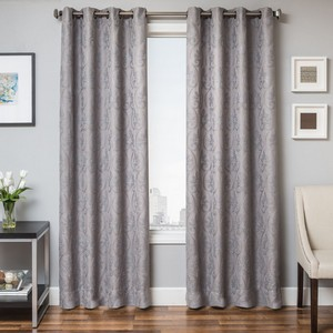 Softline Home Fashions Chia Drapery Panels in Grey Blue color.