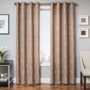Softline Home Fashions Chia Drapery Panels in Taupe Gold color.