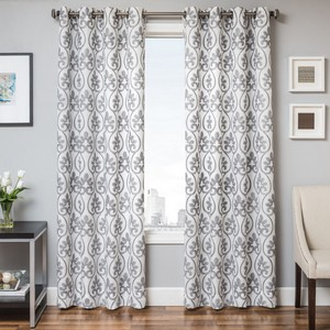 Softline Home Fashions Chia Drapery Panels in White Blue color.