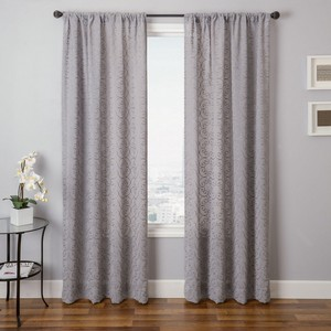 Softline Home Fashions Corby Drapery Panels in Slate color.