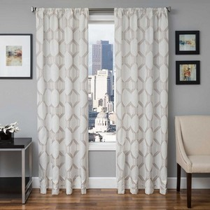 Softline Home Fashions Dresden Drapery Panels in Mushroom color.