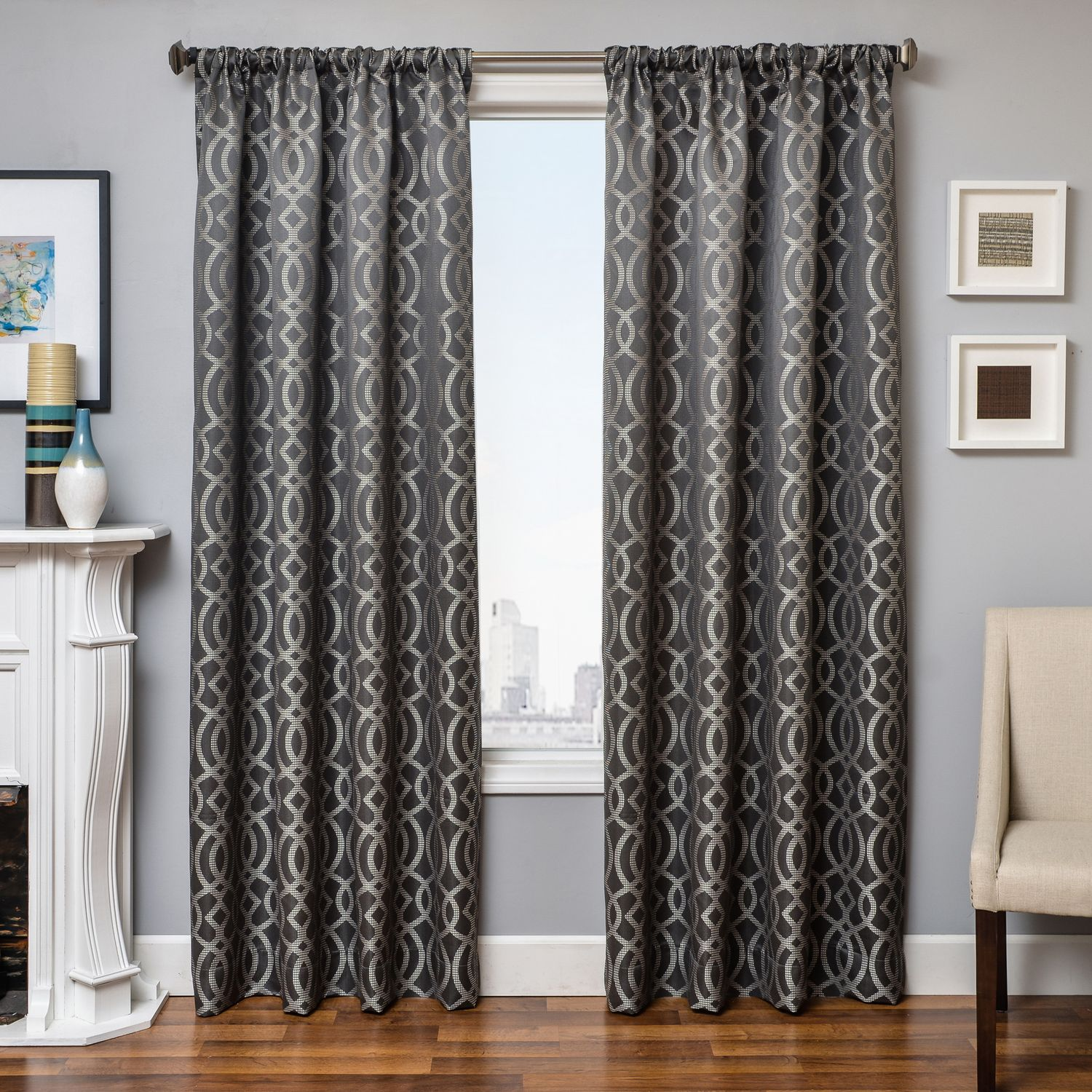 Softline Home Fashions Exeter Drapery Panels in Pewter color. Pewter