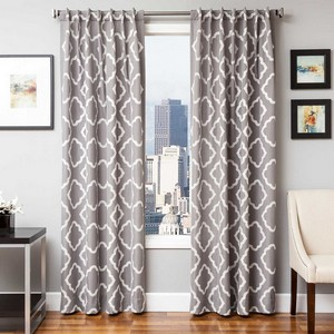 Softline Home Fashions Grenoble Drapery Panels in Grey White color.