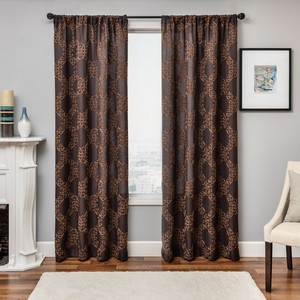 Softline Home Fashions Larissa Drapery Panels in Chocolate color.