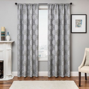 Softline Home Fashions Larissa Drapery Panels in Grey Grey color.