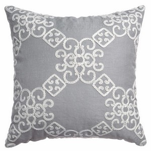 Softline Home Fashions Larissa Decorative Pillow in Grey White color.