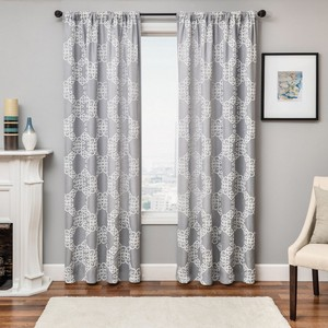 Softline Home Fashions Larissa Drapery Panels in Grey White color.