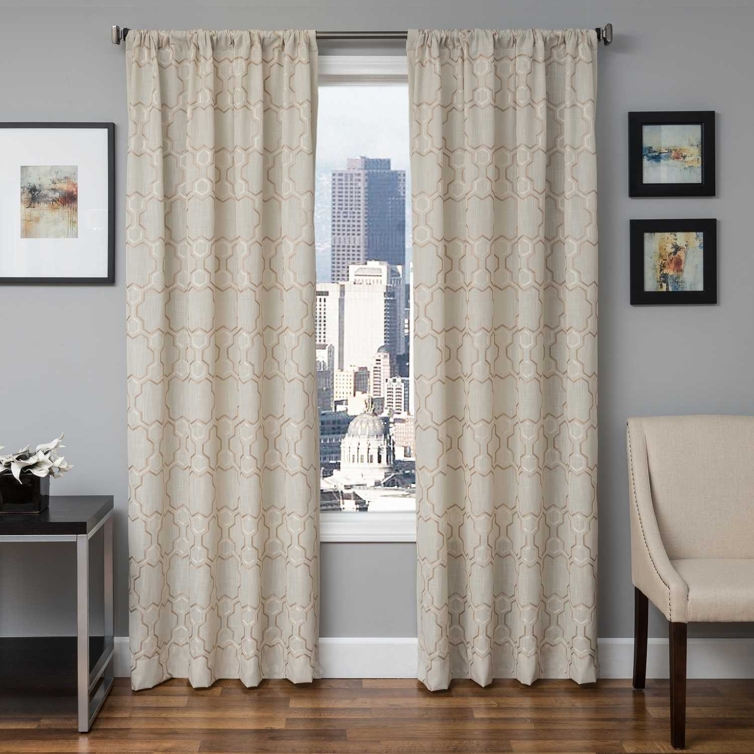 Softline Home Fashions Livorno Drapery Panels Color: Champagne White Swatch  Available.