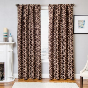 Softline Home Fashions Palmira Tile Drapery Panels in Designer Brown color.
