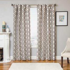 Softline Home Fashions Palmira Tile Drapery Panels in Designer Grey color.