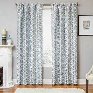 Softline Home Fashions Palmira Tile Drapery Panels in Ocean color.
