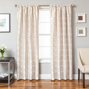 Softline Home Fashions Palmira Tile Drapery Panels in Pearl color.