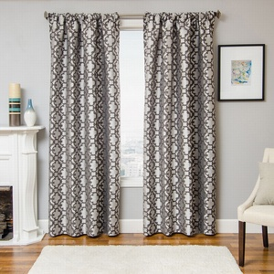 Softline Home Fashions Palmira Tile Drapery Panels in Pewter color.