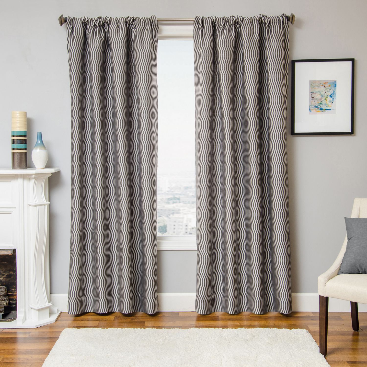 Softline Home Fashions Palmira drapery panels and decorative pillows are constructed in a linen-look woven jacquard.