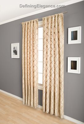 DefiningElegance.com presents lined or unlined Softline Pierre Drapery Panels and Scarf Valances.