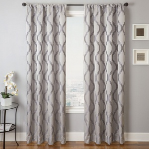 Softline Home Fashions Savannah Drapery Panels in Platinum color.