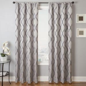 Softline Home Fashions Savannah Drapery Panels in Platinum color.