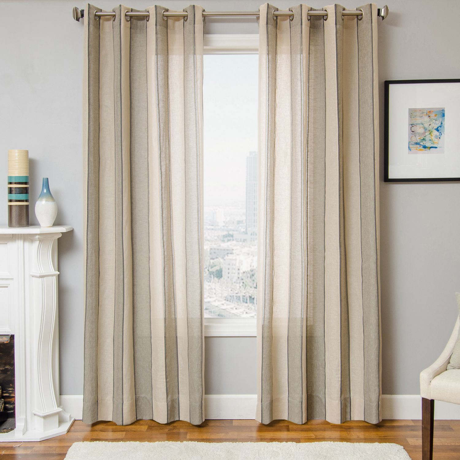 Linen Stripe Kitchen Curtains: Softline Home Fashions Drapery St Helens Panel