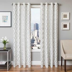 Softline Home Fashions Quail Drapery Panels in Haze color.