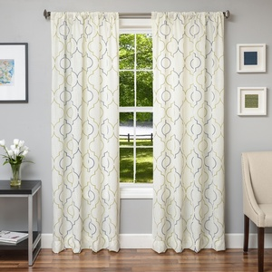 Softline Home Fashions Tarsus Drapery Panels in Kiwi Navy color.