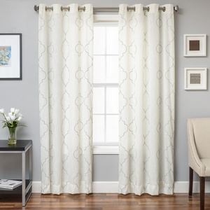 Softline Home Fashions Tarsus Drapery Panels in Grey White color.