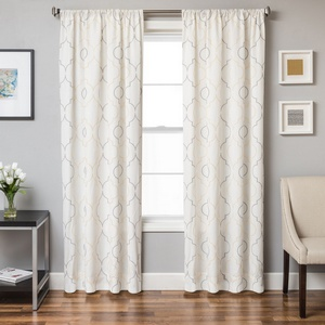 Softline Home Fashions Tarsus Drapery Panels in Grey Yellow color.