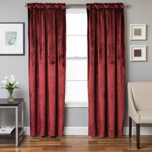 Softline Home Fashions Terni Solid Drapery Panels in Crimson color.