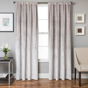 Softline Home Fashions Terni Solid Drapery Panels in Quartz color.