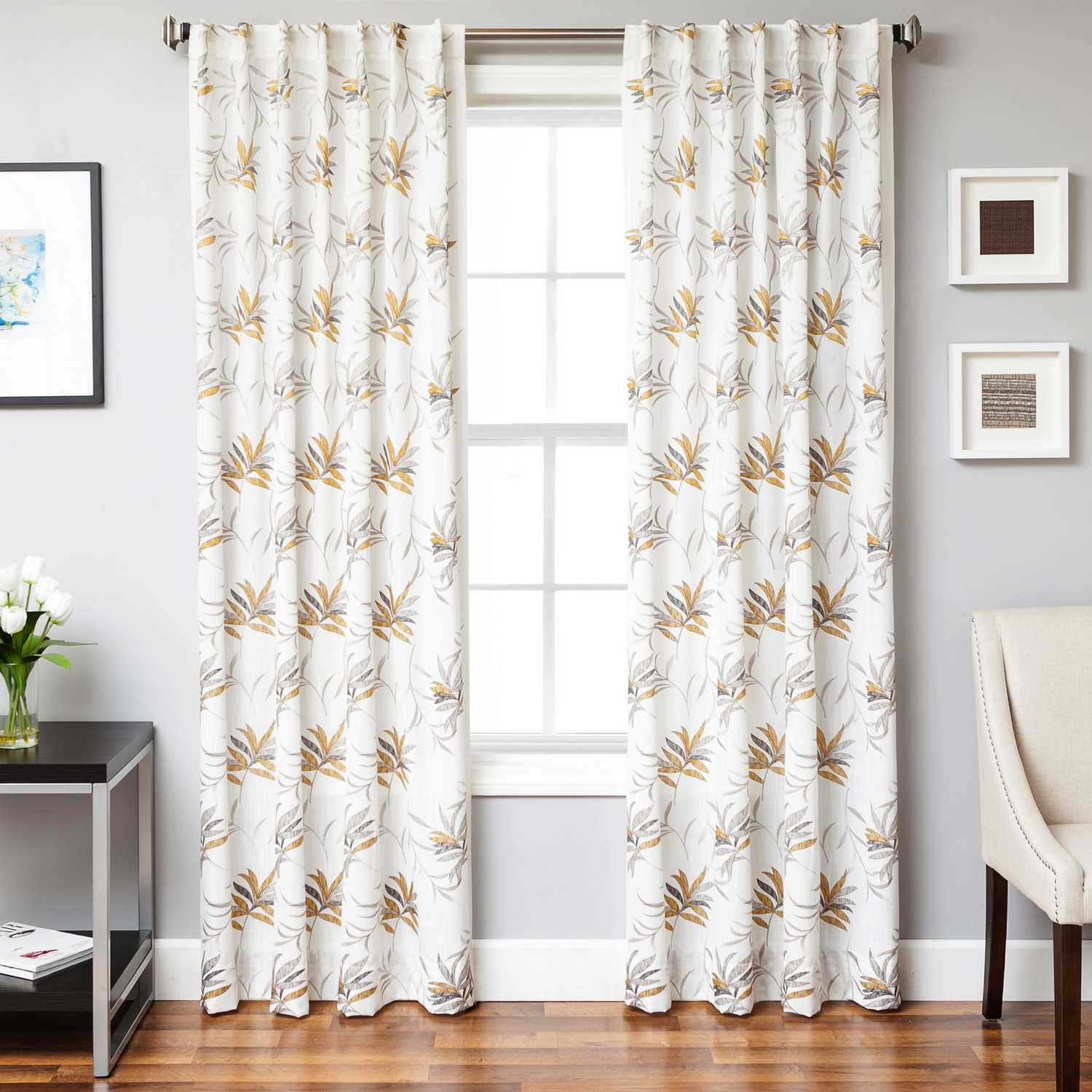 Softline Home Fashions Turin Drapery Panels Color: Gold Pewter Swatch  Available.