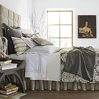 Sophistication in a pairing of printed cotton, embroidered sheeting and lovely texture with a hint of bling.