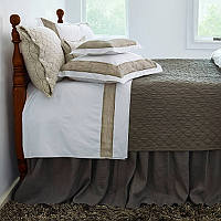 Features a linen application on crisp Italian percale and pairs wonderfully with a stone washed Louisa coverlet and a stunningly modern look.